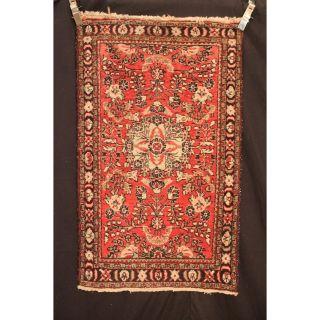 Schöner Alter Handgeknüpfter Orient Teppich Blumen Sa Rug Lilian Tapis 130x75cm Bild