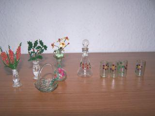 9 Teiliges Glassortiment Konvolut Für Die Puppenstube Puppenhaus 40er Jahre Bild