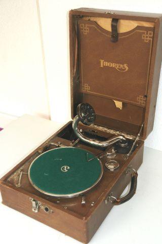 Altes Koffergrammophon Grammophon Thorens Mechanischer Plattenspieler Um 1925 Bild