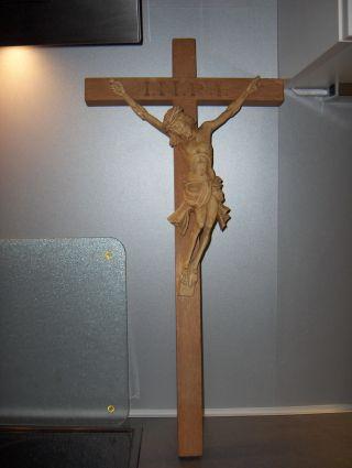 Großes Kreutz Holz Jesus Gott Inri Aus Haushaltsauflösung Bild