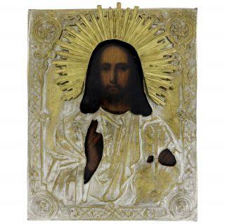 Antike Russische Ikone Christus Als Weltenlauscher,  Ende 19.  Jahrhundert_9254 Bild