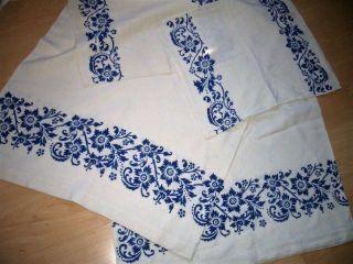 Bauernleinen Tischdecke Blaudruck 140 X 170,  2 X 41 X 52,  Servietten Bild
