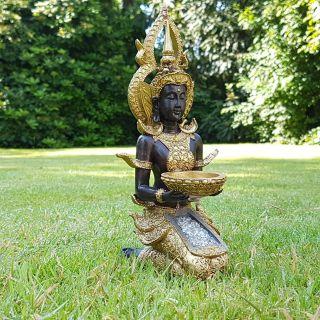 Thai Buddha Deko Figur Teelichthalter Budda Skulptur Feng Shui Statue Glück Joga Bild