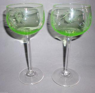 Paar Art Deco Jugendstil Kristall Weinglas Uranglas Schleuderstern Weißwein 1920 Bild