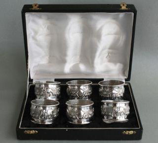 Jugendstil 6x Serviettenringe Sterling Silber,  Serviettenhalter Bild