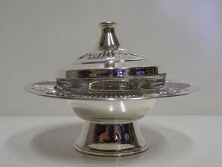 Judaica Honigtopf Massiv Silber 925 Sterling Teller Bild