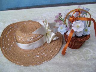Alte Puppenteile Doll Accessories Straw Hat Dark Flower Basket Für 40 Cm Girl Bild