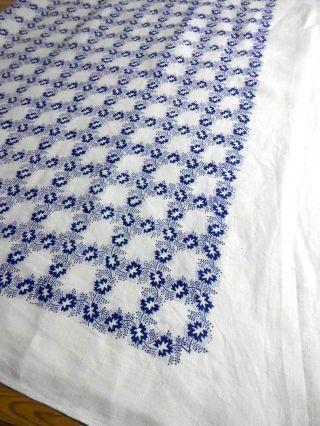 Halbleinen - Tischdecke,  Weiß,  Bedruckt In Blau,  130 X 148 Cm Bild