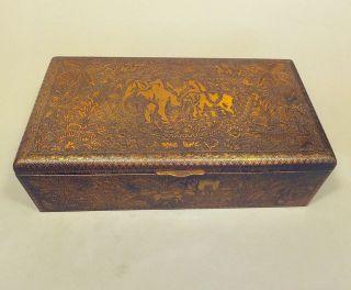 Antike Zigarren Kiste Wilhelmi Jubiläum 1932 Messing Zedernholz Indien Elefanten Bild