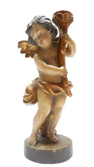 Schöner Alter Engel Kerzenständer Holz Bemalt Bild