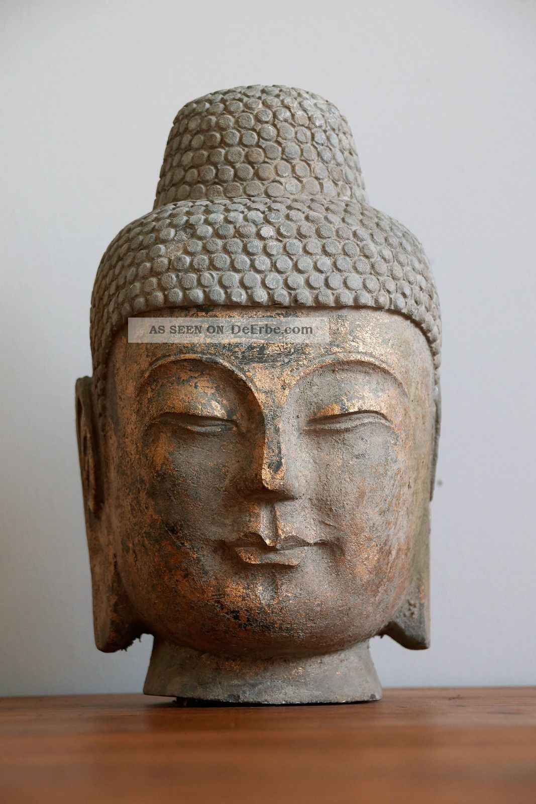 buddha kopf steinbuddha skulptur aus stein granit mit. Black Bedroom Furniture Sets. Home Design Ideas