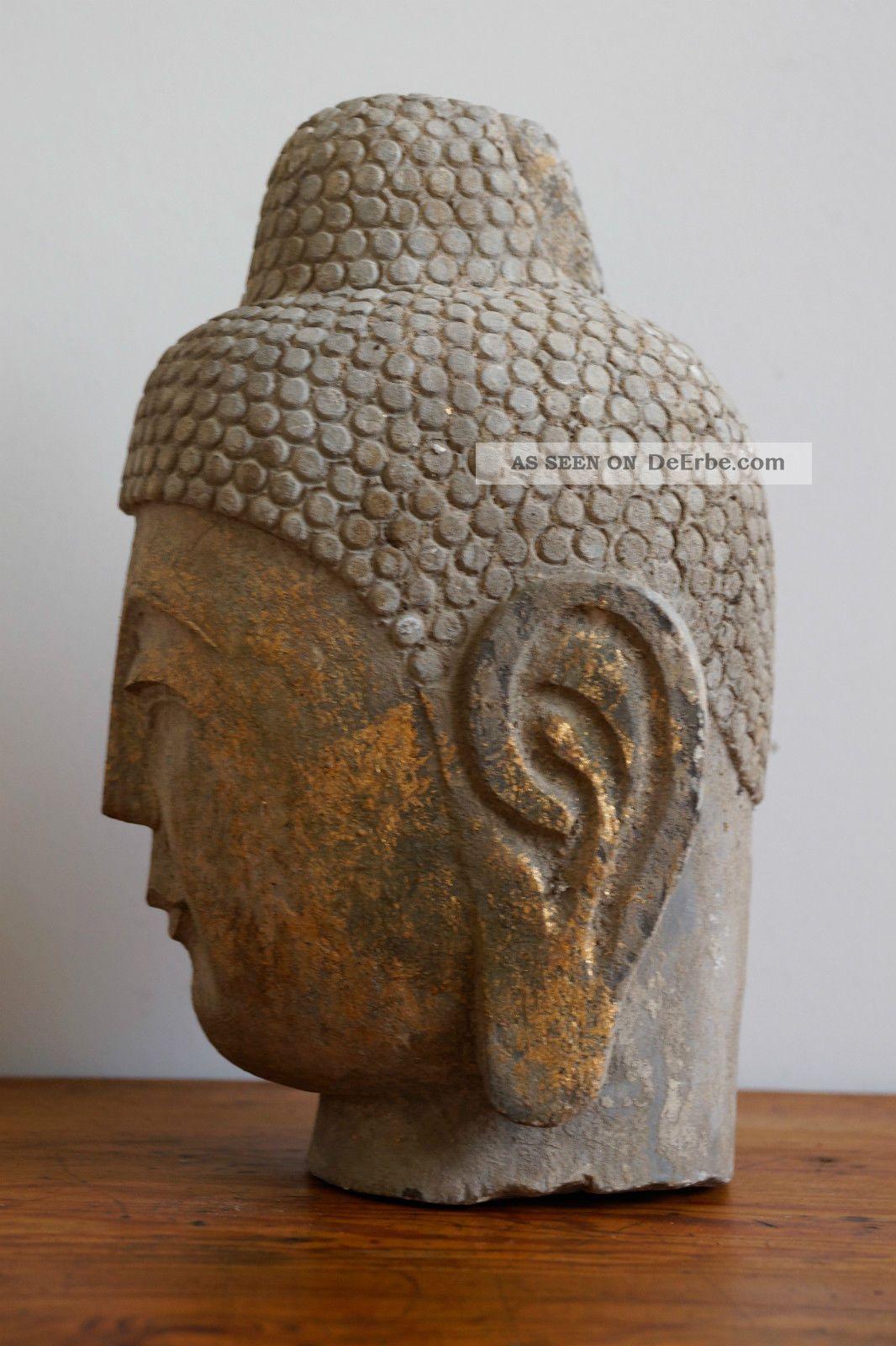 buddha kopf steinbuddha skulptur aus stein granit mit