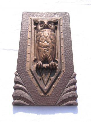 Altes Wandbild Weise Eule Reliefbild Metall Bild
