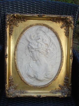 Marmorrelief: Jugendstil - Louis - Bottee: Mit Eingesetzte - Bronzemedaidalle: 1889: Bild