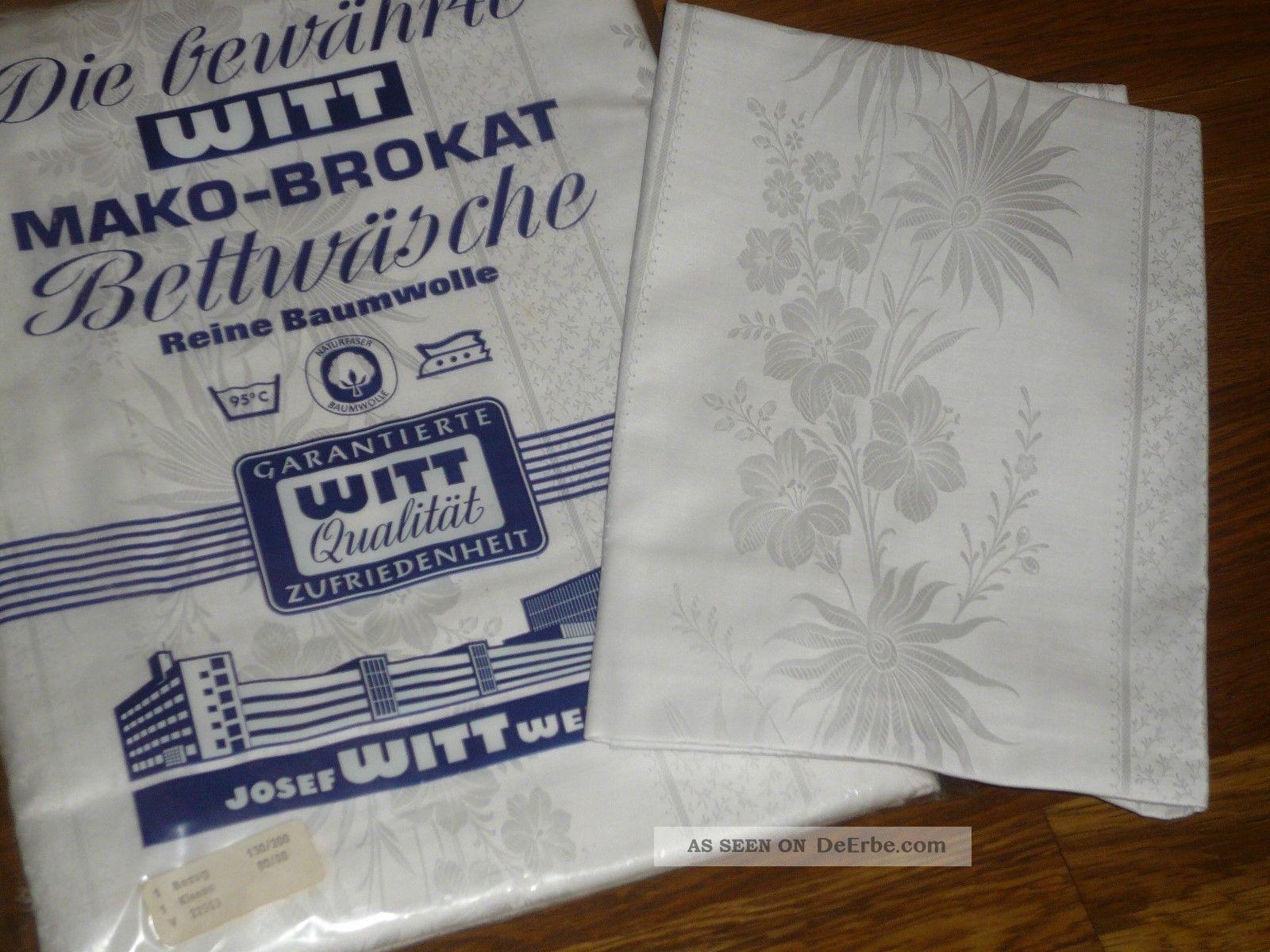 2 Tgl Mako Brokat Damast Blumen Bettwäsche Witt Weiden Vintage
