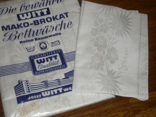 2 - Tgl Mako Brokat Damast Blumen Bettwäsche Witt Weiden Vintage Unbenutz Bild