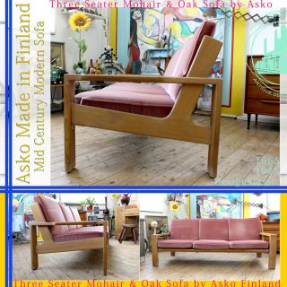 Asko Vintage Mid Century Modern Three Seater Sofa 60ties 70ties Finland Mohair & Bild