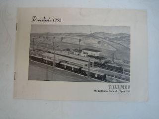 Historische Preisliste Vollmer 1952 Sammlerstück Bild