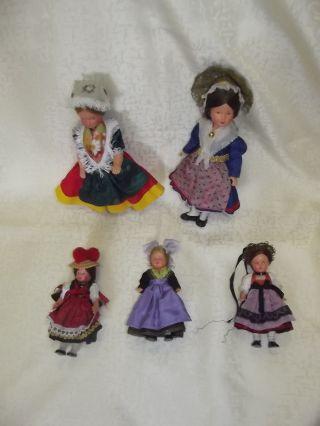 Trachtenpuppen Konvolut Russland Schwarzwald 2 Große Puppen 3 Kleine Beweglich Bild