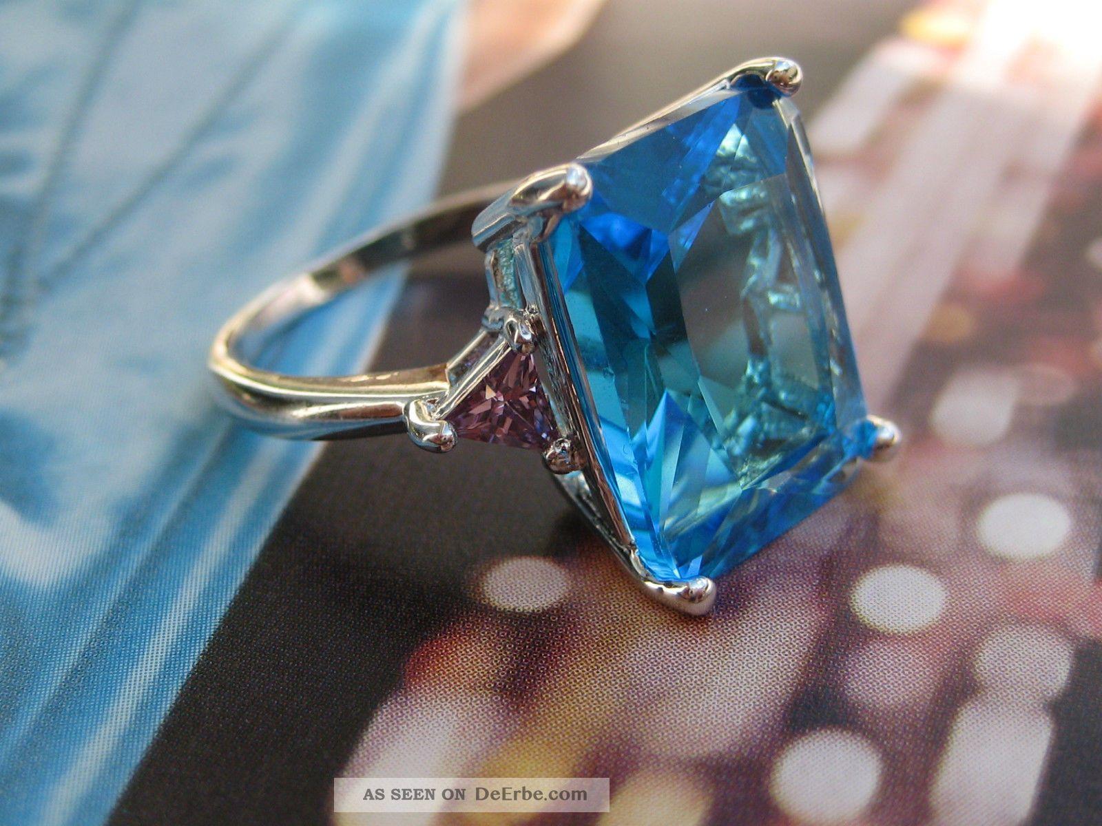 Vintage Art Deco Imposant Silberner Ring 925 Riesiger Blautopas ? Blue Topaz ? Schmuck nach Epochen Bild