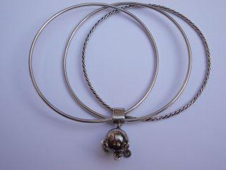 Juhls 3 - Fach Design Armreif 925 Silber Mit Kugel Für 5 Anhänger Charms Norwegen Bild