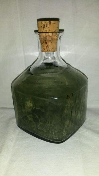 Mundgeblasene Flasche Karaffe Rauchglas - Überfangglas Ausgeschliffener Abriss Bild