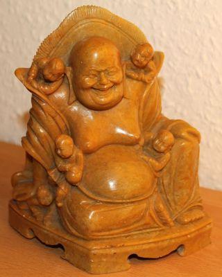 Chinesische Speckstein Figur Hotai Budai Buddha Soapstone Shoushan Carving Bild