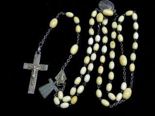 Art Deco Rosenkranz Mit Bein / Gebetskette Mit Silber Kreuz / Um 1930 Bild