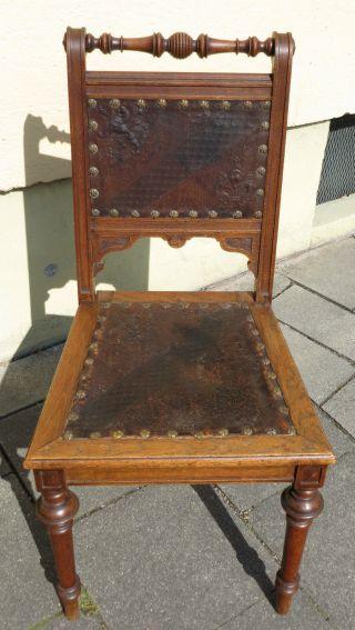 Antiker Stuhl Geprägtes Leder Adel Wappen Löwe Lilie Doppelkreuz Alt Bild