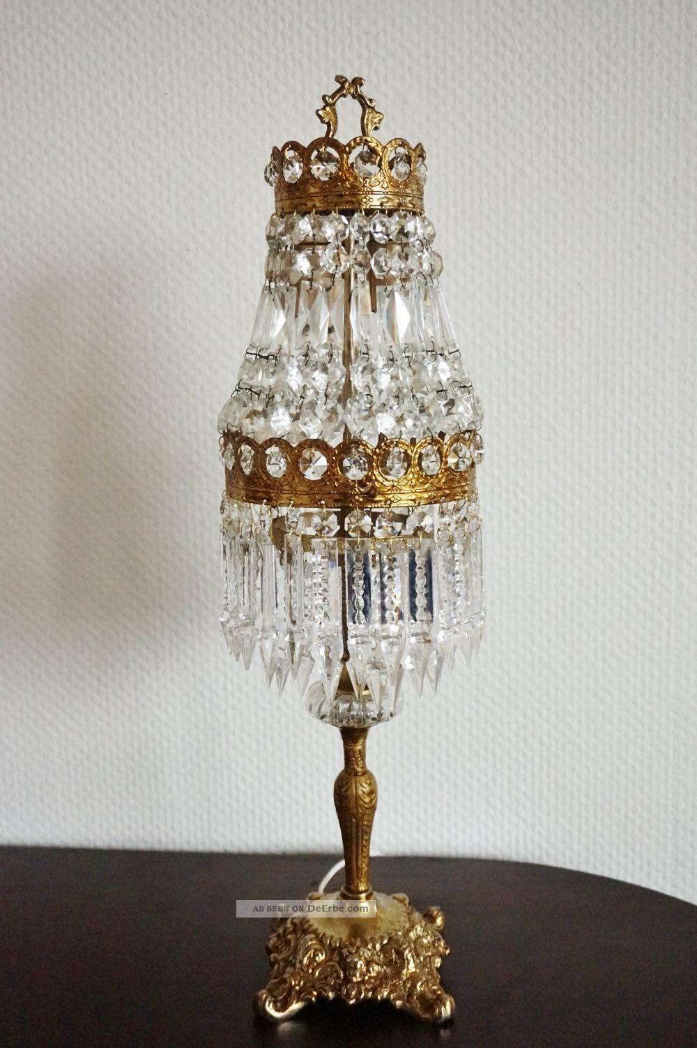Alte Kristall Tischlampe Jugendstil Tischleuchter Kronleuchter Lampe  Korblüster Bild