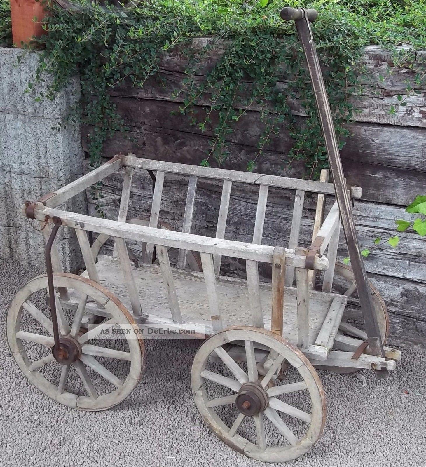 Antiker Alter Handwagen - Holzhandwagen - Leiterwagen Bauer Bild