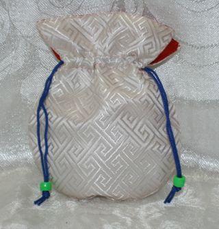 Mala Bag Stoff Schmuckbeutel Gr.  S Weiß Geschenkverpackung Tibet Indien Nepal Bild