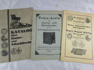 Konvolut Katalog Reklame Schach - Spiel Dame Chess Kp Uhlig Erzgebirge Um 1913 Bild