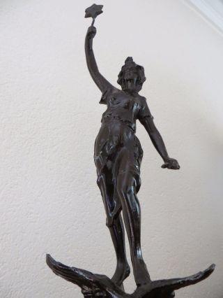Sehr Alte Figur Metall Auf Holzsockel Frau Auf Adler Um 1900 Jugendstil Bild