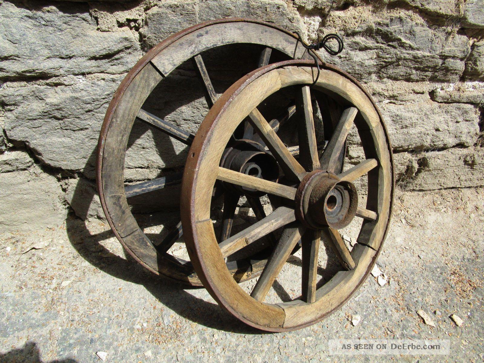 Konvolut Hand - Wagenrad Holzrad Decken - Leuchter 47 Cm Eisenring Antik Deko Bauer Bild