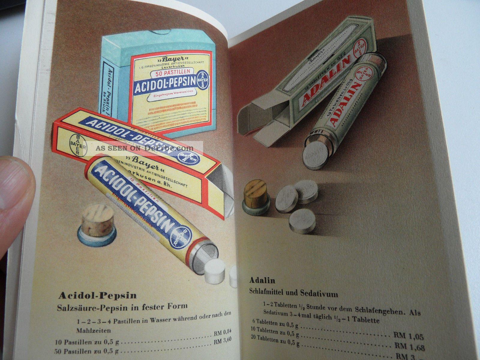 Altes Heft Der Fa Bayer Ca 1930 Abbildungen Wichtiger Bayer Präparate Arznei A - Z Arzt & Apotheker Bild