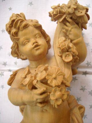 Holzfigur - Heiligenfigur - Engel - Putto Mit Füllhorn - Südtirol? - Geschnitzt - 29cm - Deko Bild