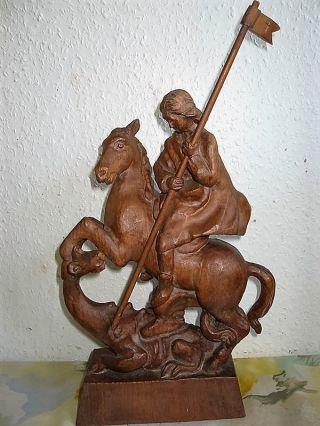 Wunderschöner Handgeschnitzter Hl.  Georg Der Drachentöter,  Holzfigur,  Holz Top Bild