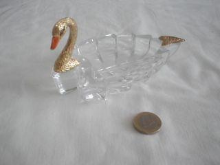 Kleine Schale Schwan Glas Goldfarben Aschenbecher Kristallgllas Bild