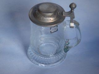 Bierkrug / Bierhumpen,  Kristallglas Mit Zinndeckel,  Sehr Gut Erhalten Bild