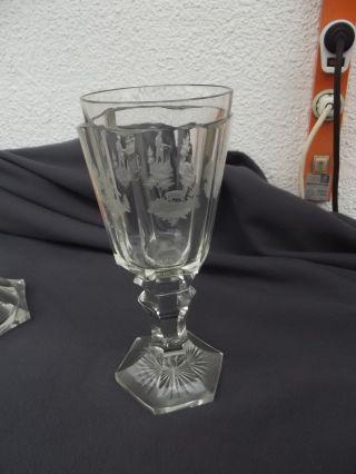 Jagdpokal,  Glas,  Geschliffene Jagdszenen,  Mit Adelskrone Für Grafenstand Bild