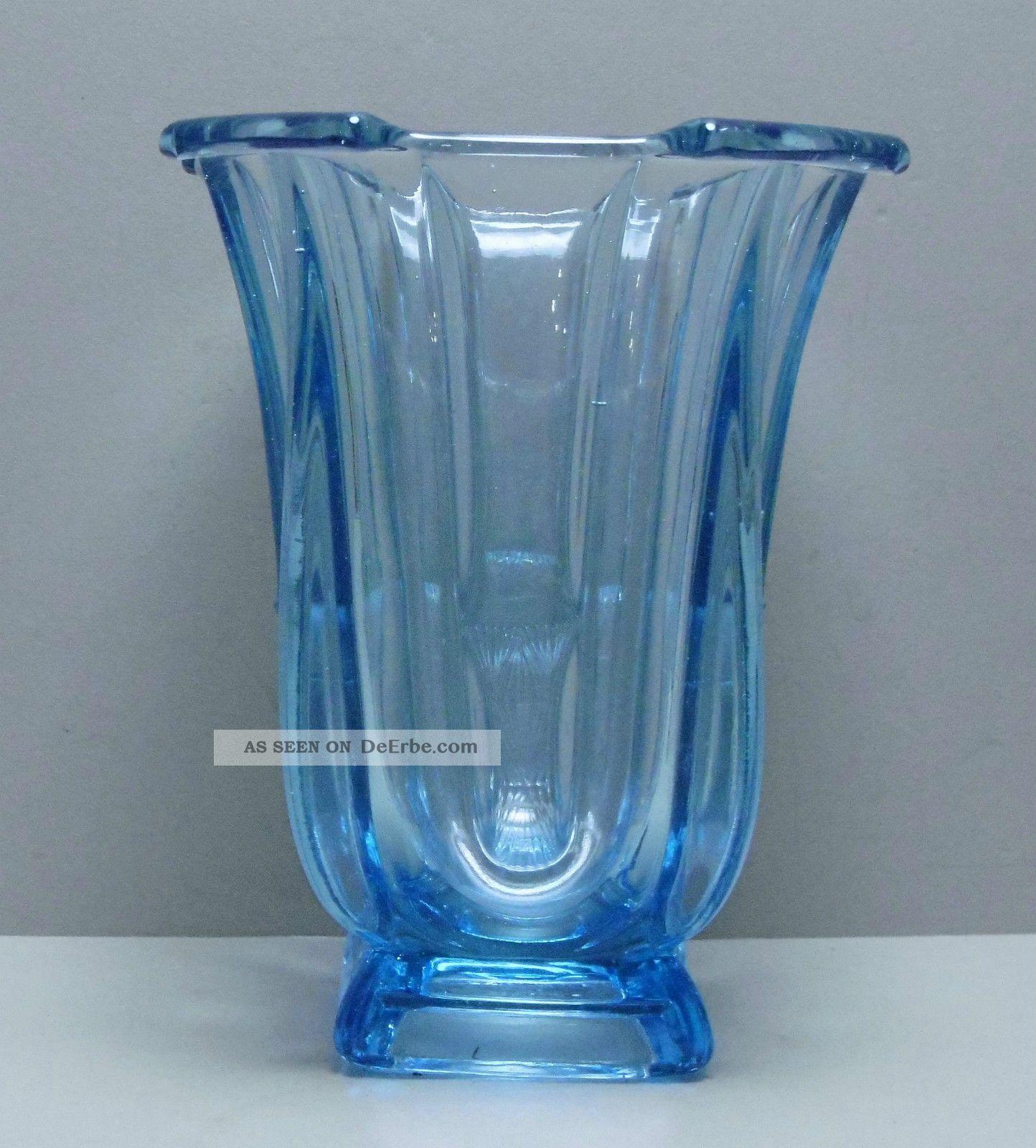 Jugendstil Vase Tischvase Pokal Hellblau 16 Cm /r4/2 Sammlerglas Bild