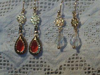 Puppenohrringe Ohrringe Tropfen Rot Nr 2 ZubehÖr Für Antike Puppen Porzellan Bild