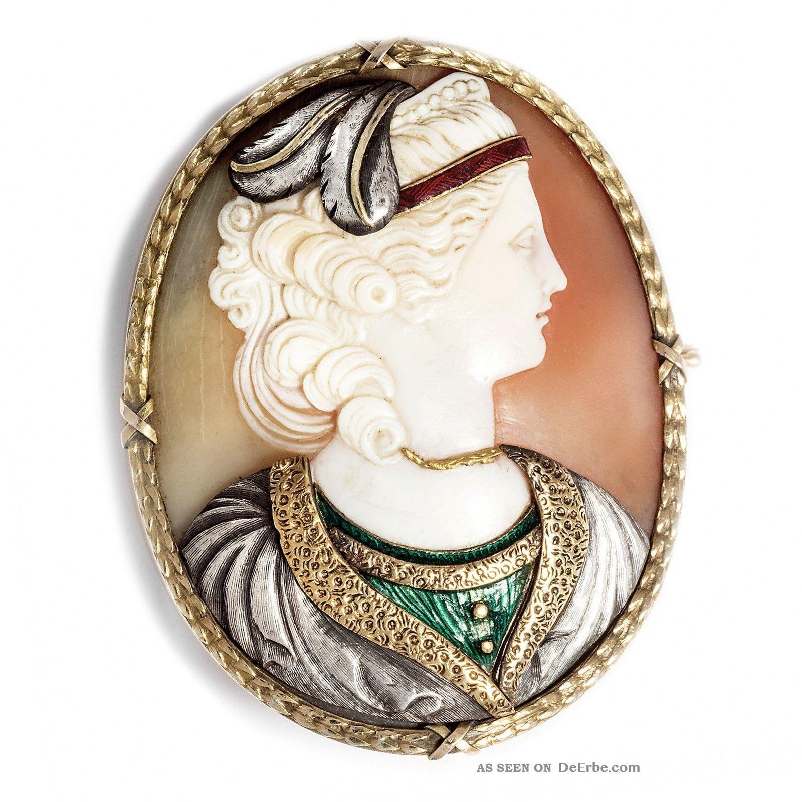 Große Commesso Muschel Kamee,  Gold,  Silber & Email,  Um 1870 Gemme Cameo Brosche Schmuck nach Epochen Bild