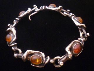 1 Tag Antikes Echt Silber Armband Mit Bernstein,  23 Gramm,  Nachlass Bild