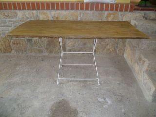 Alter Antiker Holztisch Esstisch Klapptisch Beistelltisch Metallfussgestell Bild