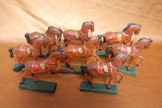 8 Antike Reitpferde,  2.  Wk,  In Verschiedenen Haltungen Lineol, Bild