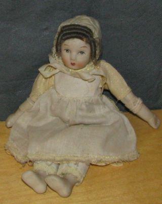 Antike Brustblattpuppe Porzellan 20 Cm Puppenstube Puppenhaus Bild