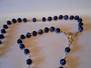 Sehr Schöner Echt Perlmutt Rosenkranz Perlen Rund Blau Kommunion Geschenk Bild