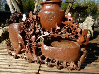 Asiatische Steinschnitzerei Pinselwascher Speckstein China Um 1920 Handarbeit Bild